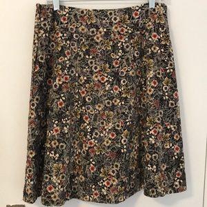 Anthropologie velvet swing skirt, fully lined.